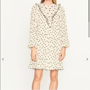 Ganni Pleated Georgette Mini Dress 36 IVORY
